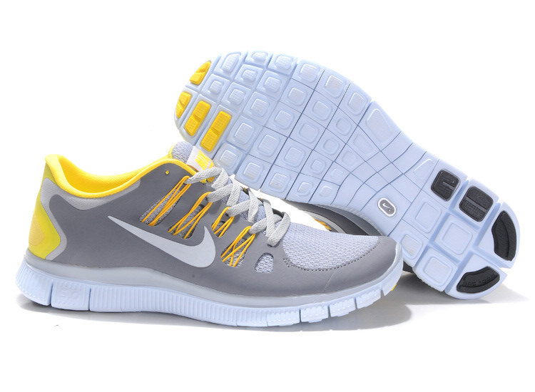 Mens Nike Free Run Gray White Yellow 5.0+ clear Boutique 5 + H29