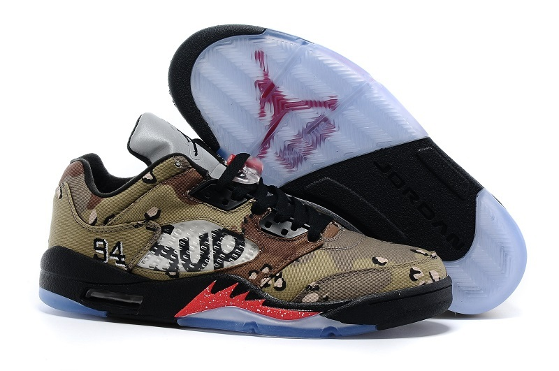 2016 Supreme X Air Jordan 5 Low Camo Black Red Shoes