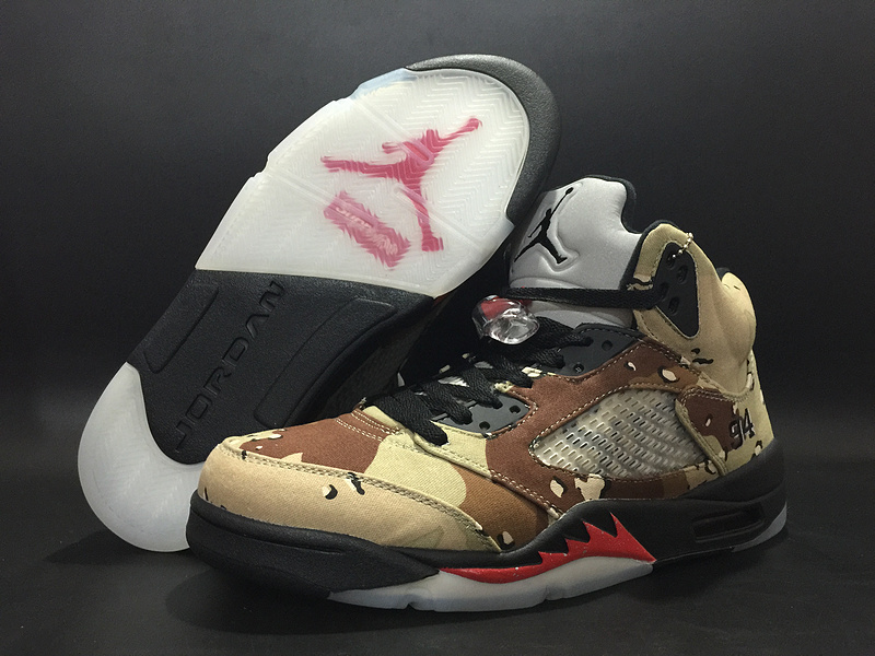 Supreme X Air Jordan 5 Camo Black Red Shoes