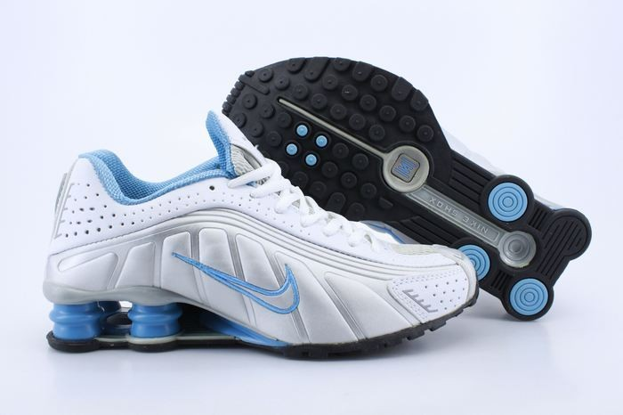 White Dodger Blue Silver Nike Shox R4 - Womens Running Shoes