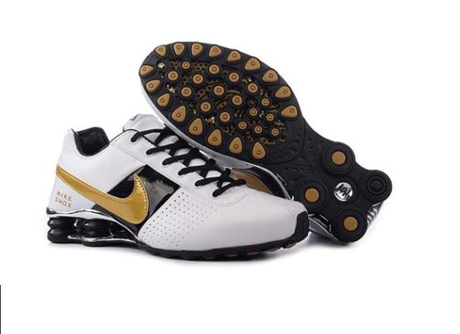 White Gold Black Shoes Mens Nike Shox OZ