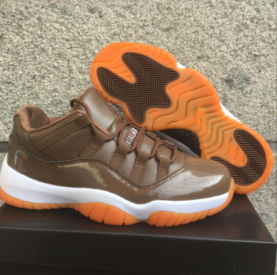 Women Air Jordan 11 Retro Low Chocolate Orange Shoes