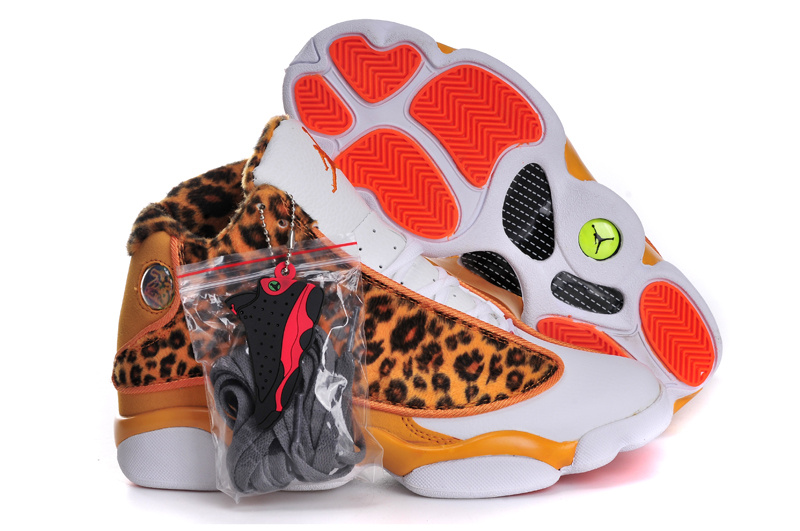 Women Air Jordan 13 Leopard Print Orange White
