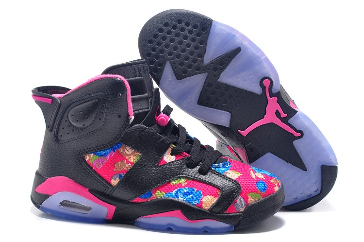 Women Air Jordan 6 GS Black Pink leather Flower Print