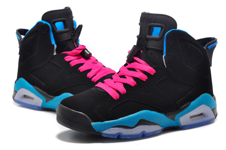 Women Air Jordan 6 Retro GS South Beach Black Dynamic Blue White Vivid Pink