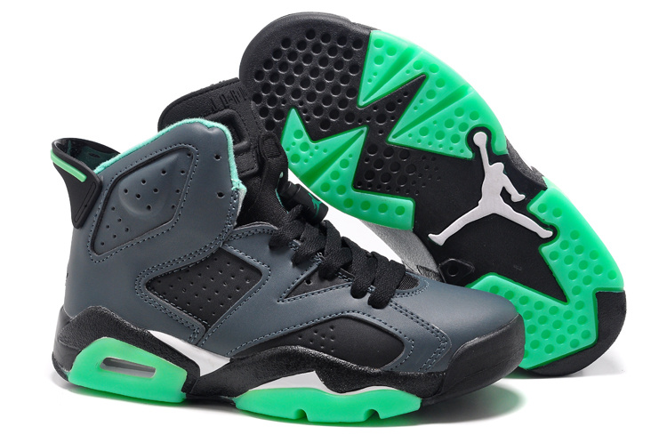 Women Air Jordan 6 Retro Girls Black Jade Green