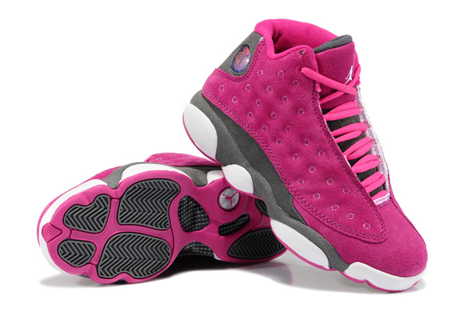 Women Air Jordans 13 Girls Suede Pink Gray