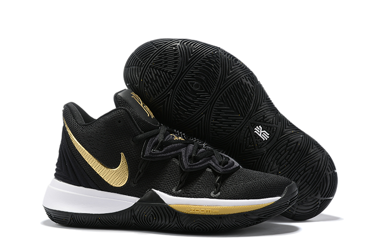 Women Nike Kyrie 5 Black White Gloden Shoes