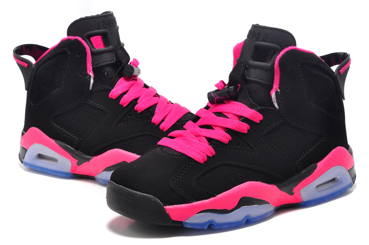 Womens Air Jordan 6 Retro GS Black Fusion Pink