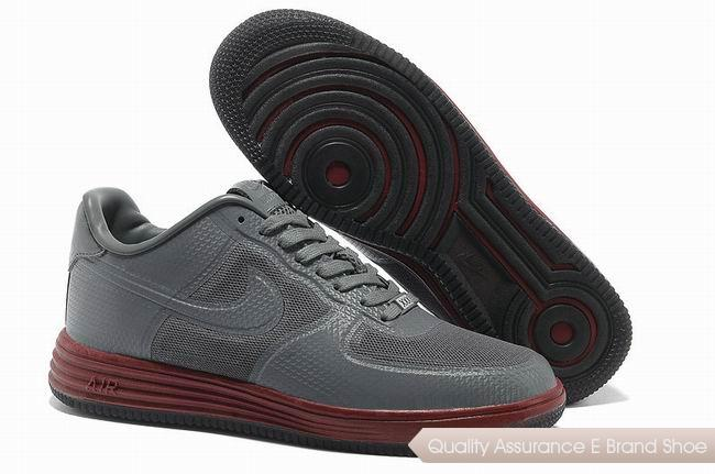 Nike Lunar Force 1 Fuse PRM QS Mens Gray Red Shoes