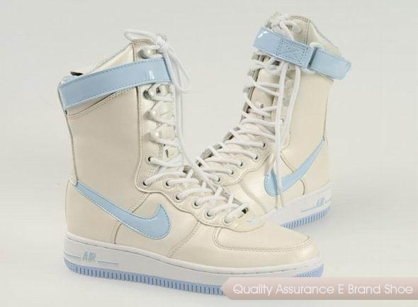 Nike Air Force 1 Womens Beige Blue Shoes