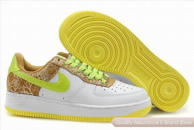 Nike Air Force 1 Womens Green Yellow Shoes