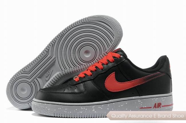 Nike Force 1 Mens Black Red Shoes