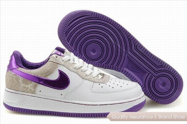 Nike Air Force 1 Womens White Purple Shoes