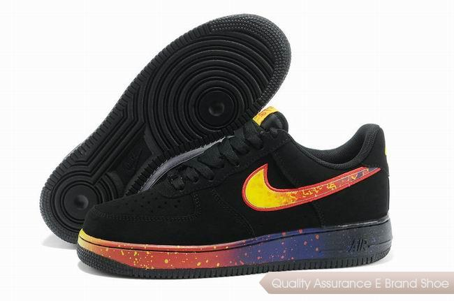 Nike Force 1 Mens Black Yellow Red Shoes