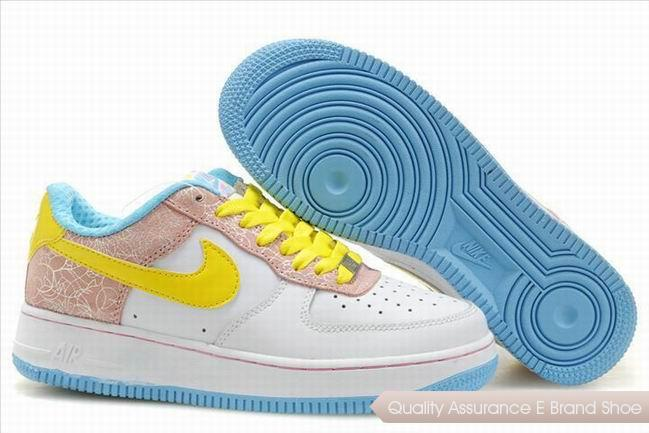 Nike Air Force 1 Womens Pink Yellow Shoes